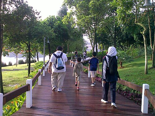 Family walk at Boardwalk Putrajaya