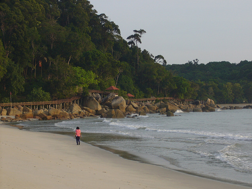 Walking alone on the beach..